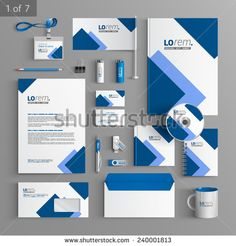 White stationery template design with blue square elements. Documentation for business.
