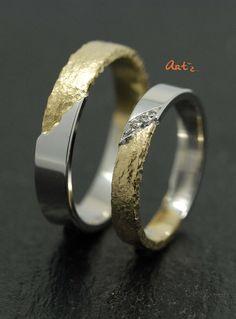 anneau de mariage or jaune martelée et or blanc polie Lyon