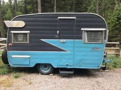 """Restored 1963 Shasta Trailer. Gray/Torquoise trailer with original wings. This trailer has all of the """"retro"""" finishes with many of the original fixtures. Th... Camper Trailer For Sale, Vintage Campers Trailers, Camper Trailers, Shasta Trailer, Wings, Gray, The Originals, Retro, Vintage Caravans"""