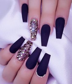 Black Matte Nails With Rhinestones . . . . . For More Of the Best Nail Pictures Follow Us ➡️Hair,Nails,And Style ➡️Hair,Nails,And Style ➡️Hair,Nails,And Style Thanks