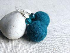 BUY 2 GET 1 FREE Dangle Felt Earrings Pine Green Felt earrings Felt Jewelry Felted Balls Eco - friendly Earrings. $12.50, via Etsy.