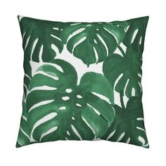 Catalan Throw Pillow featuring monstera cheese plant painted tropical palms botanical tropical palm springs trendy plants cactus succulents plants by charlottewinter | Roostery Home Decor