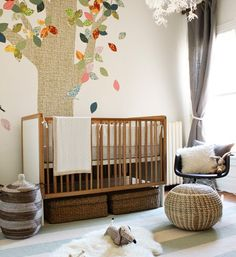 Nursery in neutral and natural fiber elements.