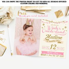 Pink and gold invitation with photo, Winter onederland invitation, gold glitter invitation, girl 1st birthday invitation, free thank you