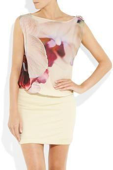 Roberto Cavalli via Net-a-porter. Orchid-print silk-georgette & stretch-crepe dress. $1,310