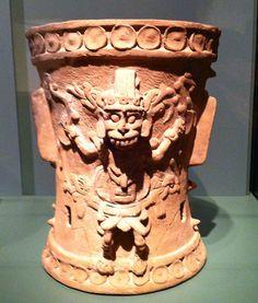Classic period Maya incense burner depicting a warrior or deity, AD 600-900 Quirigua, Izabal Department, Guatemala Pottery