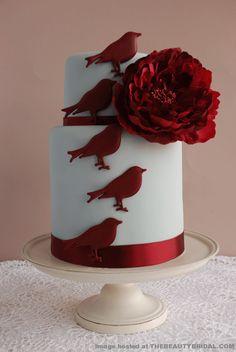 birds motive red velvet cake for wedding pictures Royal Red Velvet Wedding Cake … - Red Velvet Cake Gorgeous Cakes, Pretty Cakes, Cute Cakes, Amazing Cakes, Dead Gorgeous, Red Velvet Wedding Cake, Red Velvet Cake, Fondant Cakes, Cupcake Cakes