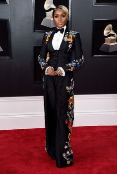 The 60th Grammys Awards - Janelle Monáe In Dolce & Gabbana Spring 2018 RTW Secret Show at the event.