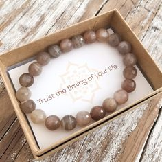 """Moonstone is a stone of """"new beginnings"""", calming emotions & enhancing intuition. Give the gift of gemstone bracelets with our New Beginnings Bracelet. Healing Bracelets, Gemstone Bracelets, Bracelet Display, Affirmation Cards, Bijoux Diy, New Beginnings, Making Ideas, Holiday Gifts, Jewelry Making"""