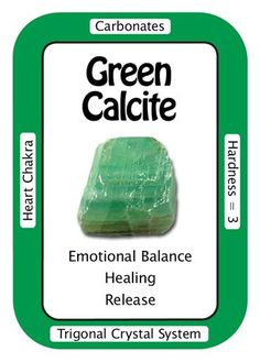"""Green Calcite Affirmation """"I find pleasure in the simple joys of life."""" Green Calcite works with the Heart Chakra to bring emotional balance and a knowledge of Divine Love. A peaceful stone, Green Calcite can help one to look at situations differently, with the knowledge that, whether good or bad, """"this too shall pass"""". Physically, Green Calcite stimulates the immune system."""