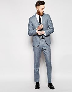 ASOS slim fit blue silk suit