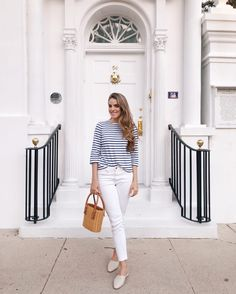 Classic Stripes and white denim