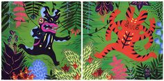 Diptych for Giant Robot SF's  Power Punch group show.  Gouache and cell vinyl on wood.