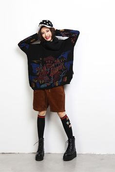 Allover Printed Stretchy Heavy Sweater