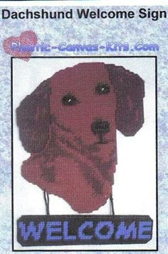 DACHSHUND WELCOME SIGN by PLASTIC-CANVAS-KITS.COM 1/3