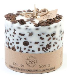 Hand Made Vanilla & Coffee Scented Soy Candle With Coffee Beans