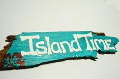 "Driftwood Wall Decor, ""Island Time"" , Tropical Beach Cottage Drift Wood Sign Home Decor, Beach Wedding Decoration. $25.00, via Etsy."