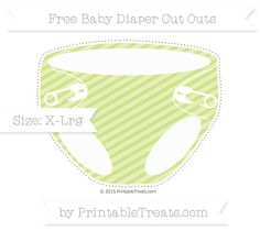 Pastel Lime Green Diagonal Striped  Extra Large Baby Diaper Cut Outs