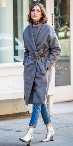 Alexa Chung in a gray wrap coat, jeans and silver booties - click ahead for more winter outfits