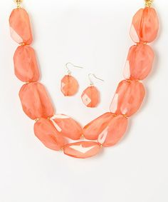 Look at this #zulilyfind! Orange Double-Strand Stone Necklace & Earrings #zulilyfinds