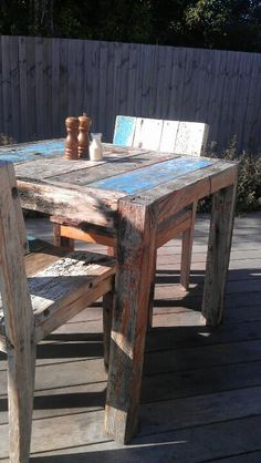 Re-cycled timber table and chairs pavilion cafe McCrea Melbourne