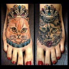 Realistic Cat Foot Tattoos