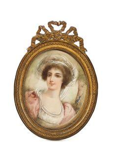 c.1900 Hand Painted Signed Miniature Portrait in a Gilt Bronze Easel Back Frame    eBay