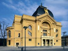 The magnificent theatre in art nouveau architecture combines theatre & concert hall under one roof in Gera, Germany.