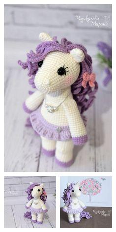 Amigurumi Little Unicorn Free Pattern – Amigurumi Crochet Crochet Unicorn Pattern Free, Diy Crochet Patterns, Crochet Doll Pattern, Doll Patterns, Free Crochet, Stitch Patterns, Free Pattern, Crochet Crafts, Crochet Dolls