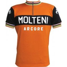 Vintage Velos is proud to offer Molteni cyclewear. This replica is styled on the jersey worn in the early 1970s when Eddy Merckx was the leading racer. Team Molteni had an impressive run of twenty years winning several Giro d' Italias and Tour de Frances and European classics. Made exactly to spec with same burnt orange, blue and champion stripes in collar/cuff. A serious jersey in blessed Merino wool. There is only one true Molteni jersey and this is it!