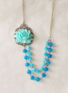Something Blue Necklace / Blue Flower Necklace / Blue Rose Statement Necklace / Blue Bead Flower Necklace / Bib Double Strand Necklace by SmittenKittenKendall on Etsy