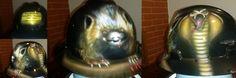 Pissed off badger taking a bite of a Cobra  #zimmerdesignz custom hard hats and welding helmets