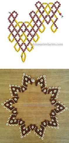 This Pin was discovered by Над Diy Necklace Patterns, Seed Bead Patterns, Beaded Jewelry Patterns, Beading Patterns, Seed Bead Tutorials, Beading Tutorials, Beading Projects, Bead Loom Bracelets, Beaded Ornaments
