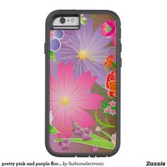 pretty pink and purple floral abstract case