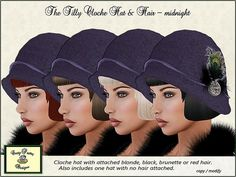 Crazy Pastry Designs The Tilly - Midnight Cloche Hat & Hair