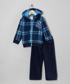 Take a look at this Navy Plaid Fleece Zip-Up Hoodie & Pants - Infant, Toddler & Boys by Little Rebels on #zulily today!