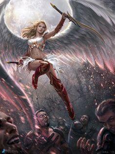 Imagem de angel, digital art, and fantasy Dark Fantasy Art, Fantasy Girl, Fantasy Artwork, Chica Fantasy, Fantasy Warrior, Fantasy Women, Anime Fantasy, Angel Warrior, Ange Demon