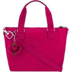 KIPLING Amiel tote (1,485 MXN) ❤ liked on Polyvore featuring bags, handbags, tote bags, flam pink, kipling tote, zipper purse, pink tote handbags, zip tote bag and pocket tote