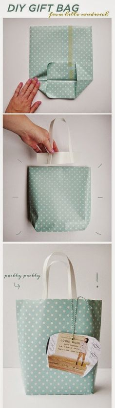 Cute And Incredibly Useful Gift Wrap DIYs How to DIY Gift Bags from old wrapping paper!How to DIY Gift Bags from old wrapping paper! Paper Gift Bags, Paper Gifts, Fabric Gift Bags, Diy Paper Bag, Papier Diy, Do It Yourself Inspiration, Daily Inspiration, Crafty Craft, Crafting