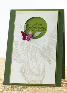 Geburtstagskarte mit Stampin' Up Swallowtail, Gastgeberinnenset Natur-Nah, Match the Sketch, Stampin Up Jahreskatalog 2014, Stampin Up beste...