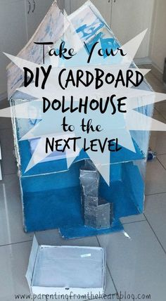 Make a DIY Cardboard Dollhouse, stairs, and furniture with these tips! They will surely take your cardboard dollhouse to the next level. Cardboard Dollhouse, Cardboard Crafts, Diy Dollhouse, Cardboard Houses, Diy Craft Projects, Fun Crafts, Doll Crafts, Craft Ideas, Diy For Kids
