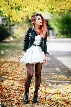 Lace dress and leather jacket grunge outfit