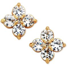 Charter Club Gold-Tone Flower-Inspired Crystal Stud Earrings, ($25) ❤ liked on Polyvore featuring jewelry, earrings, gold, flower jewellery, flower stud earrings, flower jewelry, charter club earrings and colored gold jewelry