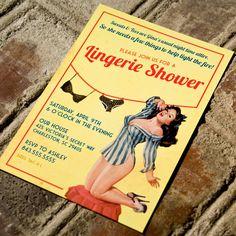 Retro lingerie shower invitation #jessicassupercuteshower
