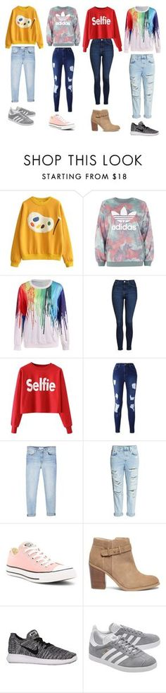 UnTiTLeD #27 by katie-lovebug on Polyvore featuring adidas, Topshop, MANGO, Converse, Sole Society, NIKE and adidas Originals