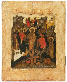 A RUSSIAN ICON OF THE RESURRECTION FROM THE TOMB AND THE DESCENT INTO HELL, NOVGOROD SCHOOL, 17TH CENTURY