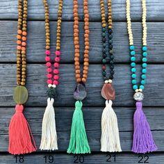 Nappa collana collana agata collana di perline legno lunga