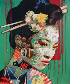 collage art Arnaud Bauville, (b. Collage Kunst, Paper Collage Art, Collage Art Mixed Media, Collage Artwork, Painting Collage, Collage Ideas, Collage Artists, Asian Mixed Media Art, Face Collage