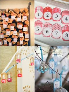 ADVENT CALENDAR TAGS AND WINTER WEDDING HANGING ESCORT CARDS