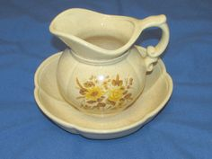 Vintage McCoy?  USA Pottery Yellow Flowers Pitcher and Bowl set # 7528